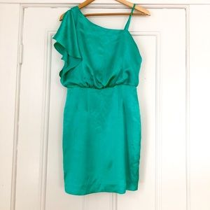 Calvin Klein Mermaid Green One Shoulder Dress Sz 4